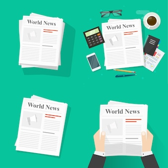 Newspaper magazine reading and holding person man or news paper press pile set