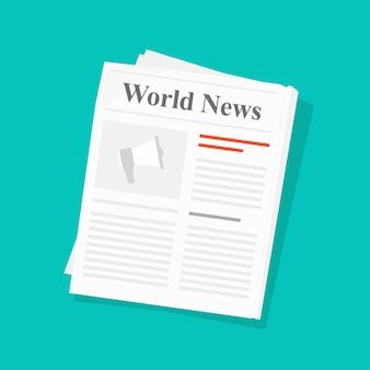 신문 또는 매일 언론 뉴스 종이 접힌 잡지 평면 그림 컬러 배경, 저널 페이지 아이디어에 고립