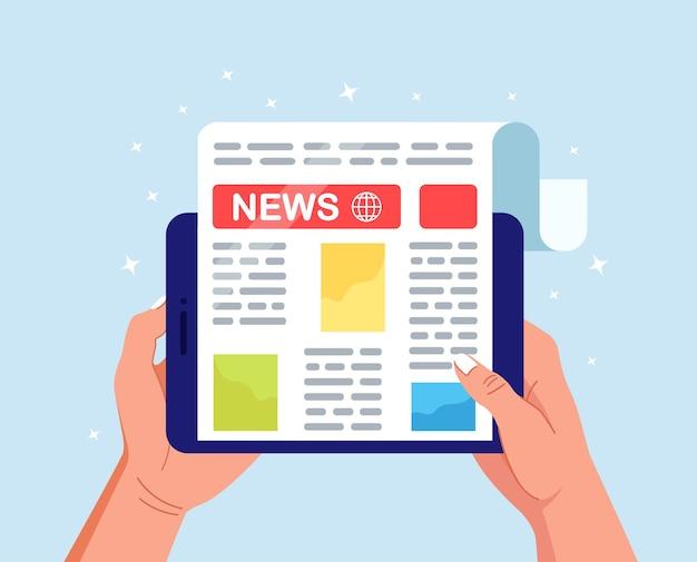 タブレットpc画面上の新聞または新聞。デジタルデバイスで世界のニュース雑誌を読んでいる男。オンラインメディアビジネスコンセプト