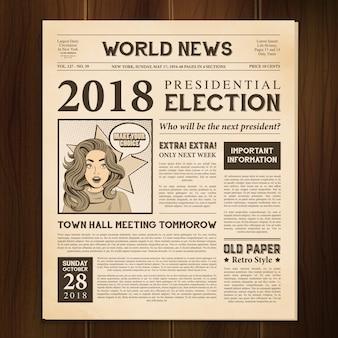 Newspaper page realistic vintage
