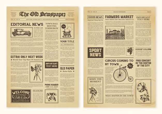Newspaper pages in vintage