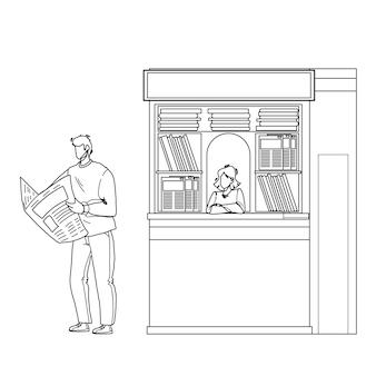 거리 신문 가판대 검은 선 연필 드로잉 벡터 근처 신문 읽기 남자. 어린 소년은 신문 기사와 야외 뉴스를 사고 읽습니다. 캐릭터 고객 가이와 잡지 판매자 레이디 일러스트레이션