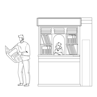 Newspaper reading man near street newsstand black line pencil drawing vector. young boy buy and read newspaper article and news outdoor. characters customer guy and magazines seller lady illustration