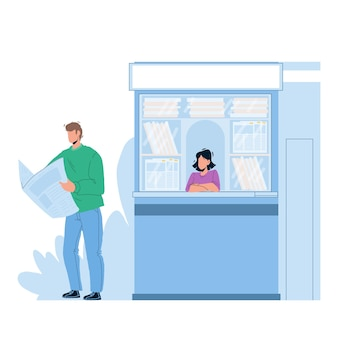 Newspaper reading man near street newsstand vector. young boy buy and read newspaper article and news outdoor. characters customer guy and magazines seller lady flat cartoon illustration