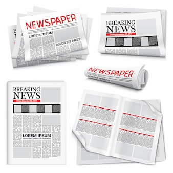 Newspaper realistic set Free Vector