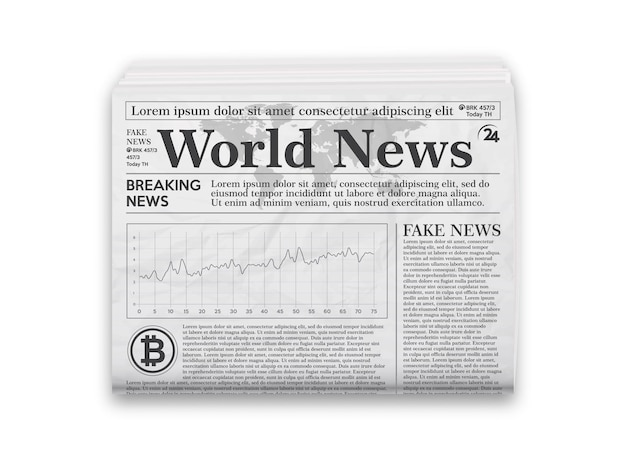 Газета. реалистичный черно-белый макет газеты.