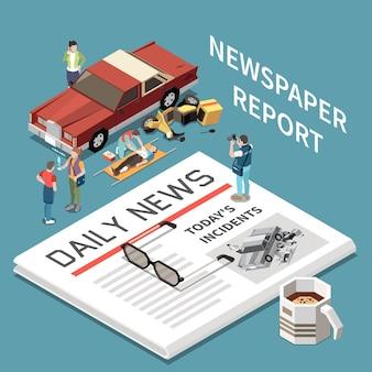 Newspaper report isometric illustration