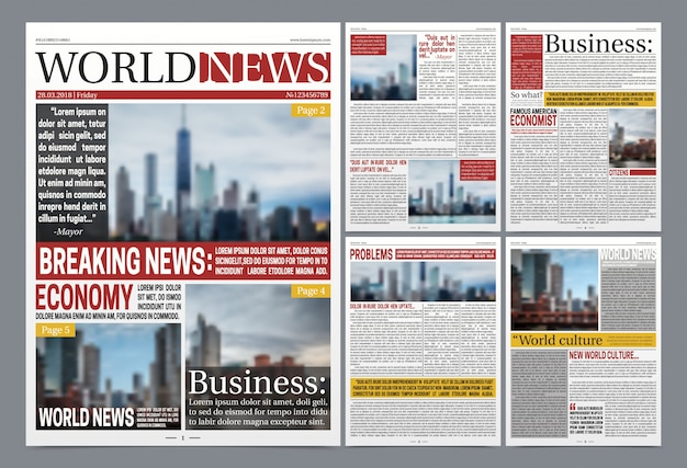 Newspaper template realistic poster