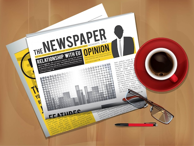 Newspaper with coffee cup. magazine or newspaper press cover top view on table breakfast news with hot tea vector picture