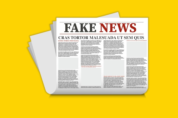 Newspaper with fake news. fake news template. mock up of a blank daily newspaper. newspaper template, printed sheets with headline.