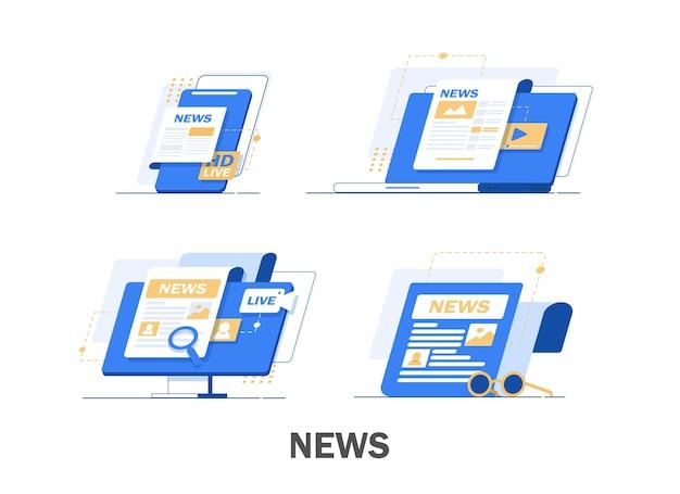 世界のニュース、フラットなデザインのイラストと新聞 Premiumベクター