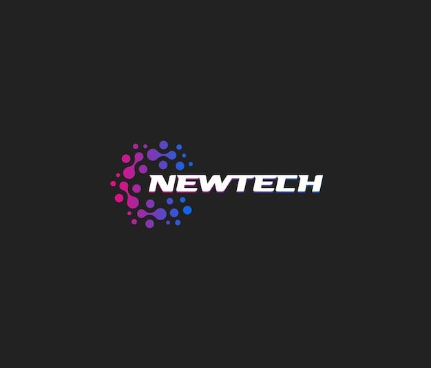 Newtech vector logo abstract logotype new innovate technology futuristic emblem design on black