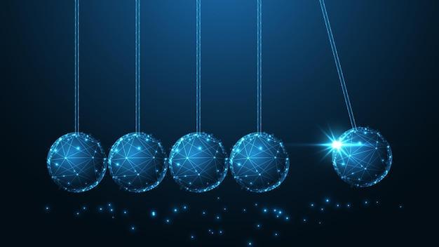 ニュートンのゆりかご線接続。低ポリワイヤーフレームデザイン。抽象的な幾何学的な背景。ベクトルイラスト。
