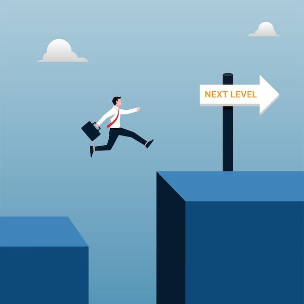비즈니스 개념의 다음 단계 성공. 목표 그림을 달성하기 위해 점프하는 사업가.