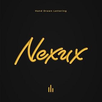 Nexus hand drawn lettering on black