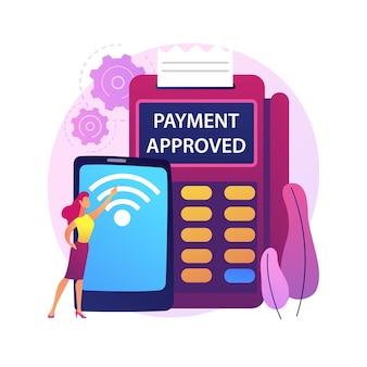 Nfc 연결 추상적 인 개념 그림입니다. 은행 연결, nfc 통신, 비접촉 카드 결제 방법, 뱅킹 기술, 금융 거래, 결제 앱.