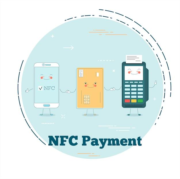 Концепция оплаты nfc в стиле лайн-арт