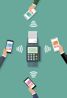 Nfc payment in flat style