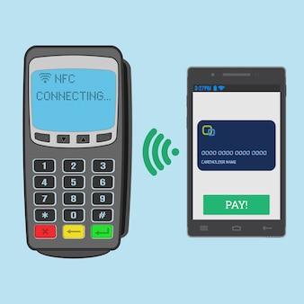 スマートフォンを使用したnfcテクノロジーを使用したワイヤレス支払い。 pos端末は、nfcスマートフォンへの接続を待機しています。