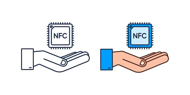 Значок процессора nfc с руками. чип nfc. связь ближнего поля. векторная иллюстрация штока.
