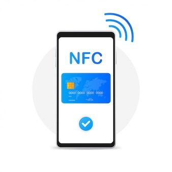 Nfc smart phone concept icon in flat style.
