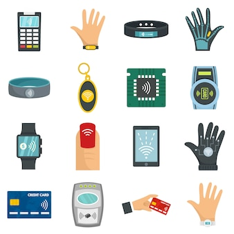Nfc technology icon set