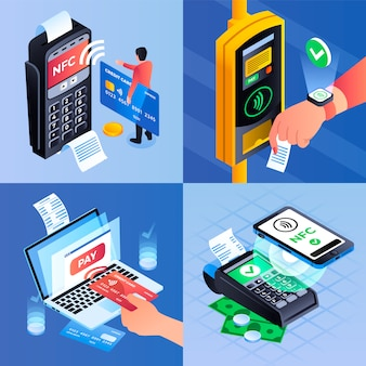 Nfc technology illustration set