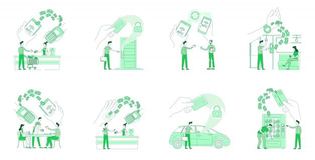 Nfcメリットフラットシルエット細い線概念イラストセット。キャッシュレス決済を行い、webデザインにキーカード2dの漫画のキャラクターを使用している人々。非接触システムの独創的なアイデア