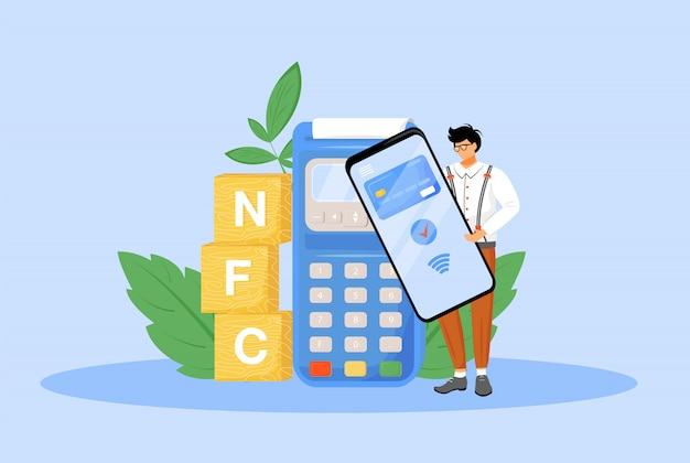 Nfc支払いフラットの概念図。 webデザインのための非接触型決済の2d漫画のキャラクターにスマートフォンを使用している人。電子決済アプリケーション、近距離無線通信技術の創造的なアイデア