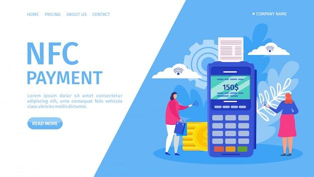 Знамя посадки оплаты nfc, иллюстрация. электронный банковский сервис, финансовое приложение для смартфона. женщина используя