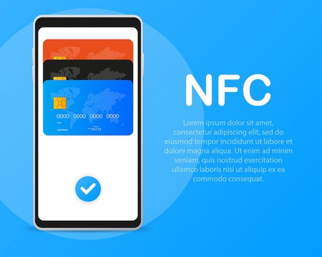モバイル決済。フラットスタイルのnfcスマートフォンコンセプトアイコン。
