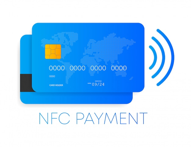 フラットスタイルのnfc支払いコンセプトアイコン。