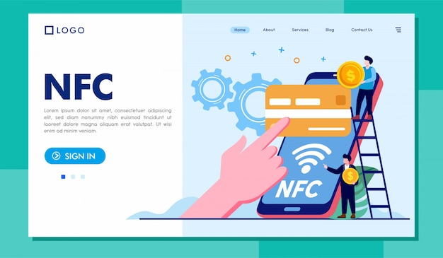 Nfcランディングページウェブサイトイラストテンプレート