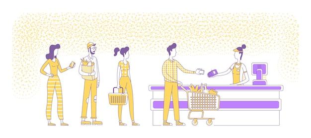 スーパーマーケットのチェックアウトフラットシルエットイラストでモバイル決済。キューに立っている人、売り手と買い手は、白い背景の文字を概説します。 nfc、キャッシュレス支払いのシンプルなスタイルの描画