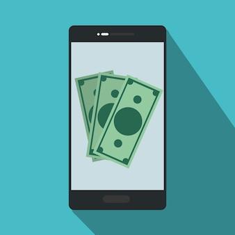 オンラインnfc支払い内の請求書とスマートフォン