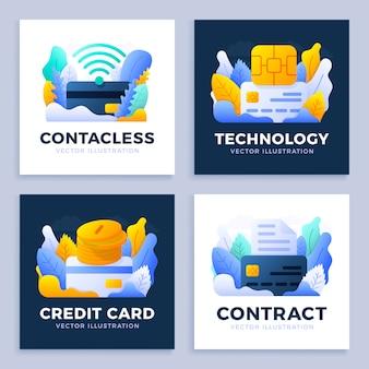 クレジットカードのストックイラストを設定します。チップ、nfc支払い、ドキュメント、マネーコイン