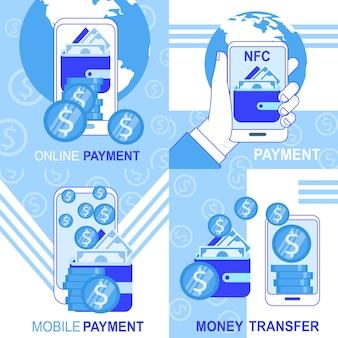Онлайн мобильный nfc оплата денежные переводы баннер набор векторные иллюстрации
