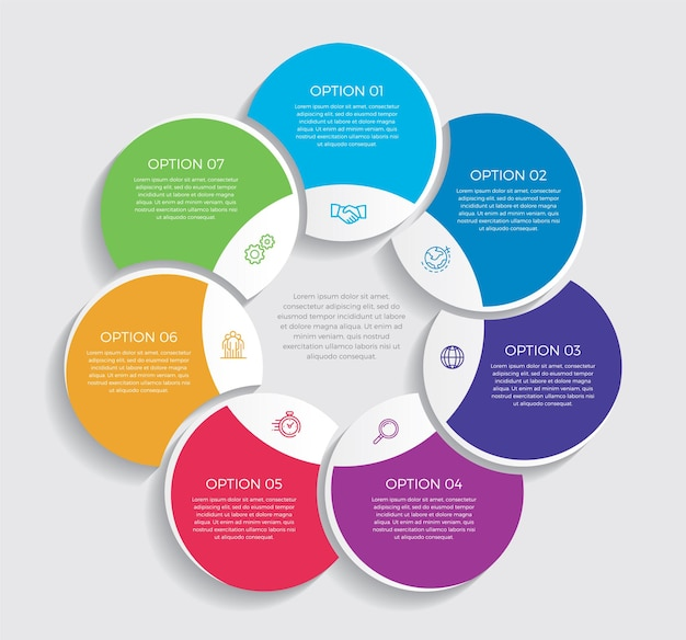 Nfographic 디자인 및 마케팅 아이콘. 7 가지 옵션, 단계 또는 프로세스가있는 비즈니스 개념. -