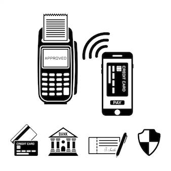 Оплата nfs, pos-терминал и смартфон черные объекты и элементы дизайна