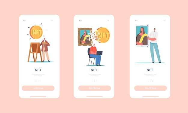 Шаблон встроенного экрана страницы мобильного приложения nft. персонажи используют криптовалюту, совершают цифровые транзакции для покупки шедевров и произведений искусства, концепция не взаимозаменяемых токенов. мультфильм люди векторные иллюстрации