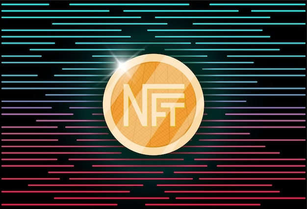 Nft non fungible light blue token on abstract linear background online money for buy exclusive art