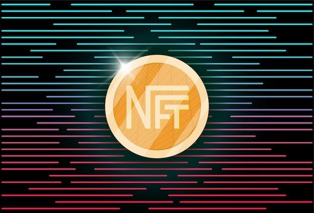 Nft невзаимозаменяемый голубой токен на абстрактном линейном фоне онлайн деньги для покупки эксклюзивного искусства