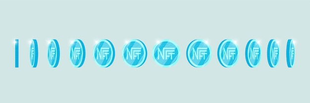 Nft non fungible light blue token turn around different position set online money for buy exclusive