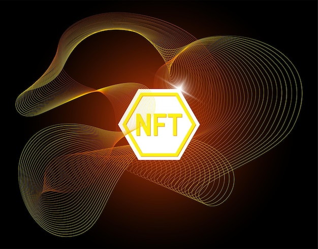 Nft non fungible token on abstract linear striped background online money for buy exclusive art