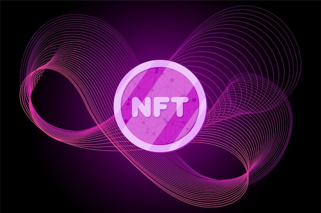 Nft non fungible token on abstract linear striped lilac purple background online money for buy