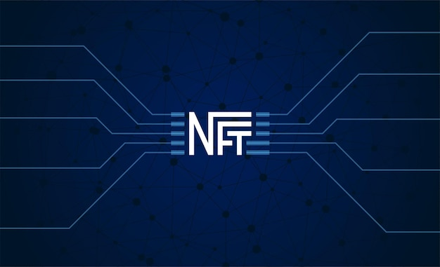 Nft non fungible token on dark background online money for buy exclusive art poster pay for unique