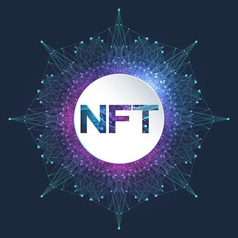 Nft 대체 불가능한 토큰. nft 개념을 다루는 대체 불가능한 토큰 아이콘. 첨단 기술 기호 로고 벡터입니다.