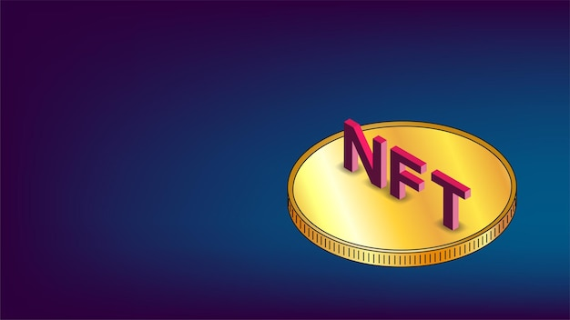 Nft non fungible tokens infographics with gold isometric coin on blue background and copy space. pay for unique collectibles in games or art. vector illustration.