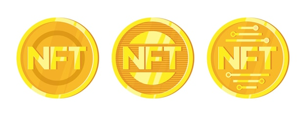 Nft non fungible tokens set in cartoon style