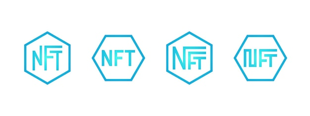 Nft nonfungible blue token logo set online money for buy exclusive art icon collection pay for